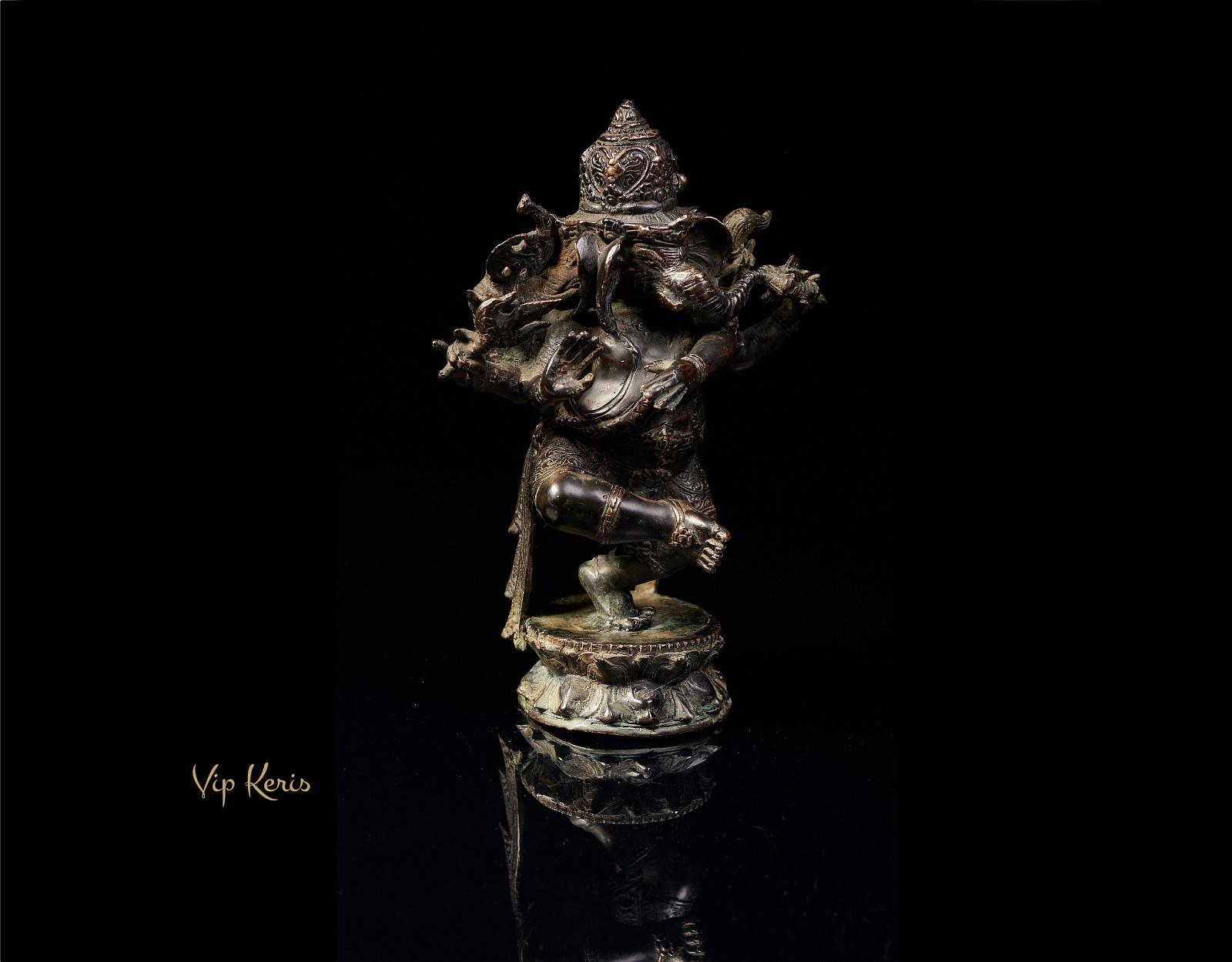 Старинная статуя трехликий Ганеша 22см, материализация. фото VipKeris