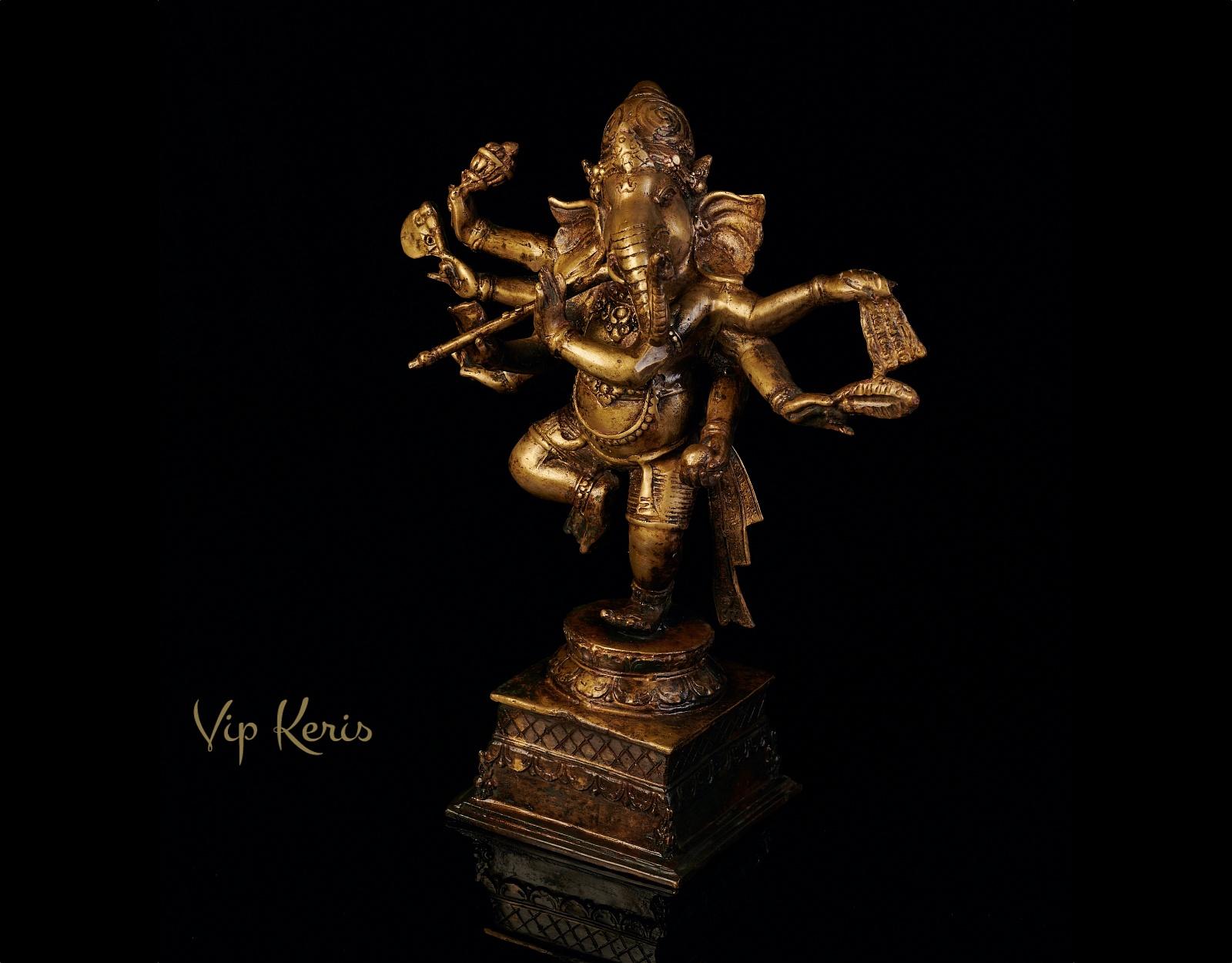 Старинная статуя Ганеша в танце, 30см фото VipKeris
