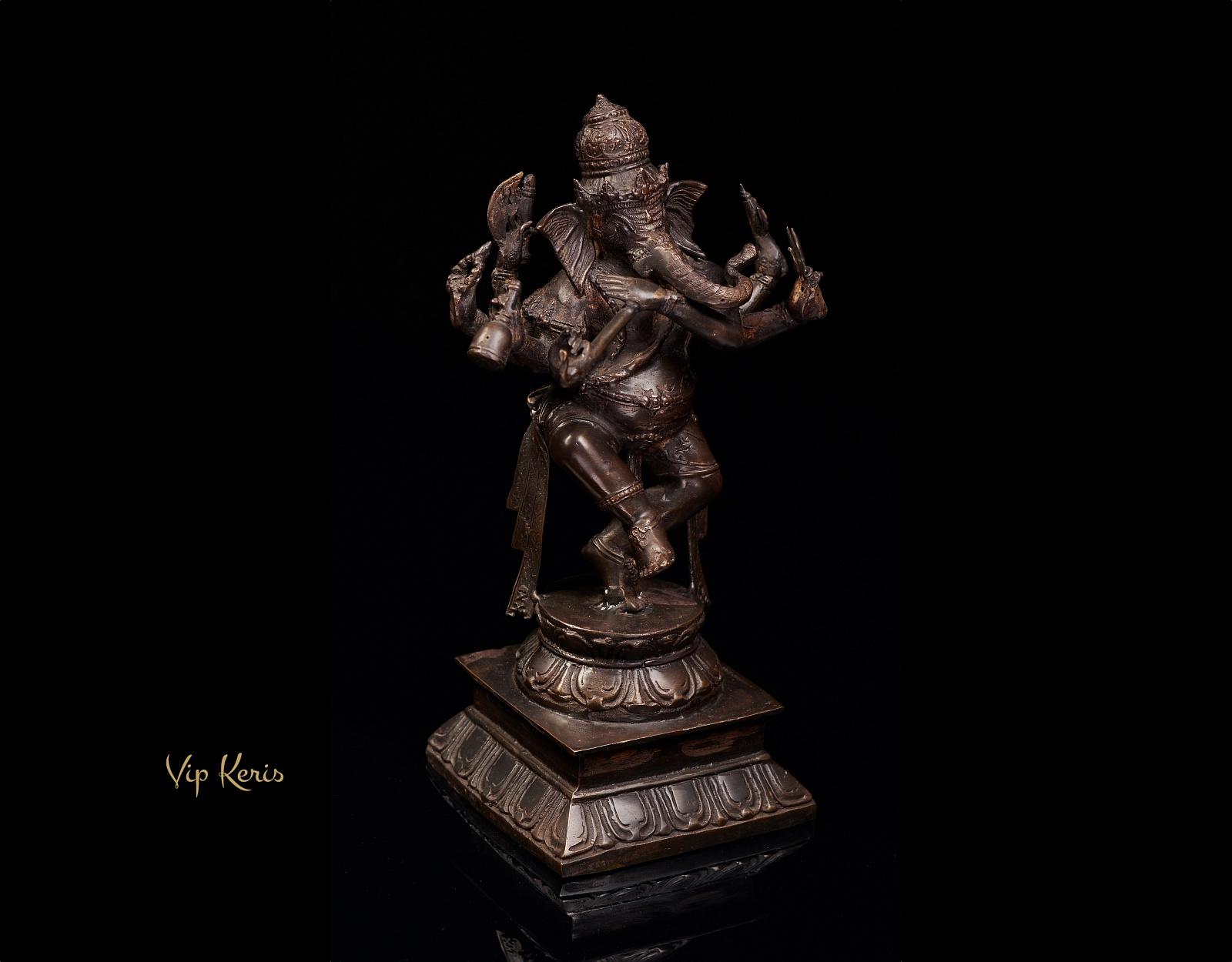 Старинная статуя танцующего Ганеши с флейтой, 30см фото VipKeris