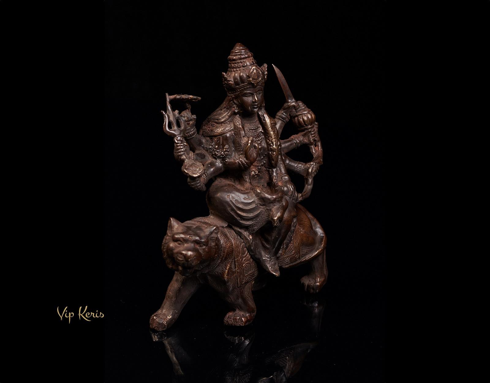 Старинная статуя Дурга на тигре, 22см фото VipKeris